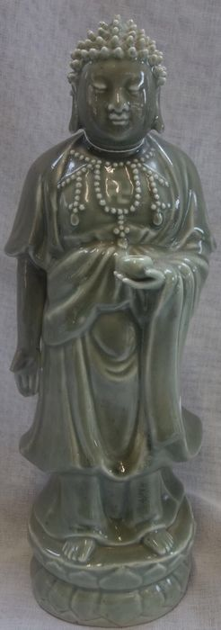 Standing figure - Porcelain - Celadon-Glaze Figure of a Standing Buddha - China - Second half 20th century