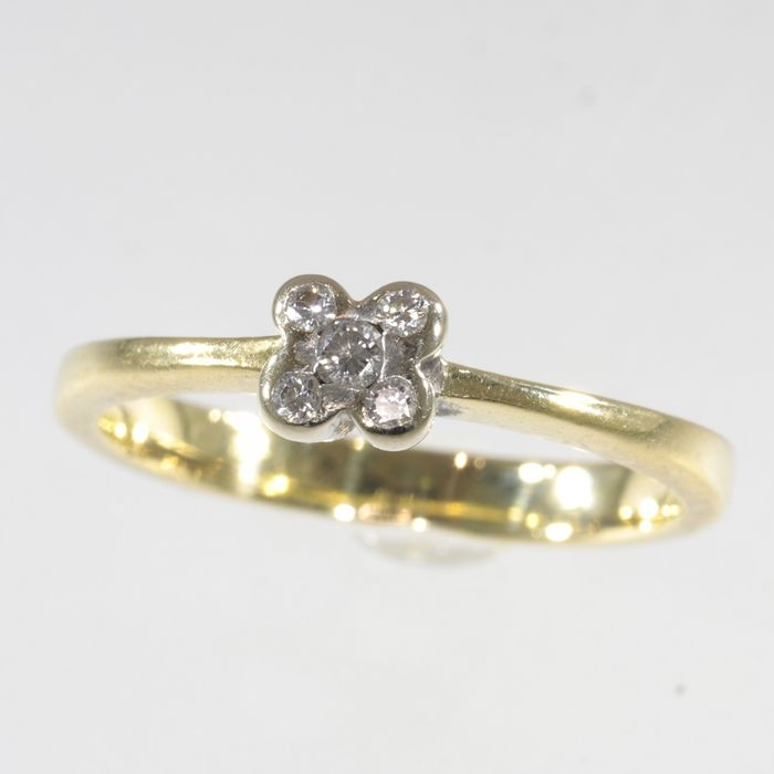 18 kt. Yellow gold - Ring, Engagement - Circa late 1970's - Origin: France - Vintage - TDW 0.10 ct -  Diamond - NO RESERVE PRICE