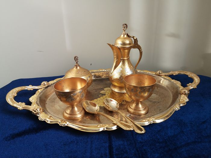 7 Piece Gold Plated Mocha Set on Tray - Gilded