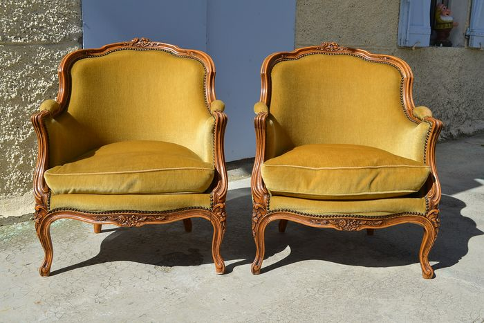 Armchair, Seating group, Pair of bergères - Louis XV Style