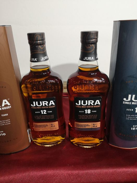 Isle of Jura 18 years old & 12 years old - Original bottling - 0,7 litros - 2 botellas