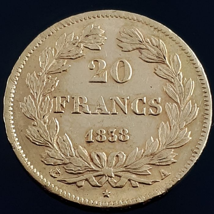 France - 20 Franc - 1838 Louis-Philippe I - Gold