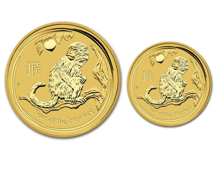 Australia - 5 & 15 Dollars 2016 Perth Mint Lunar II Affe / Monkey (2 coins) - 1/20oz + 1/10oz .999 - Gold