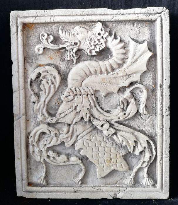 Wonderful Bas-relief - The Dragon of San Todaro - Marble of Istria - 19th / 20th century