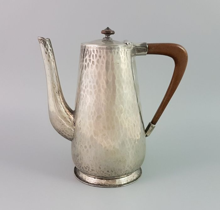 Sheffield  - Teapot, Coffee pot, Chocolate pot (1) - Art Deco - Pewter, Wood- Rosewood