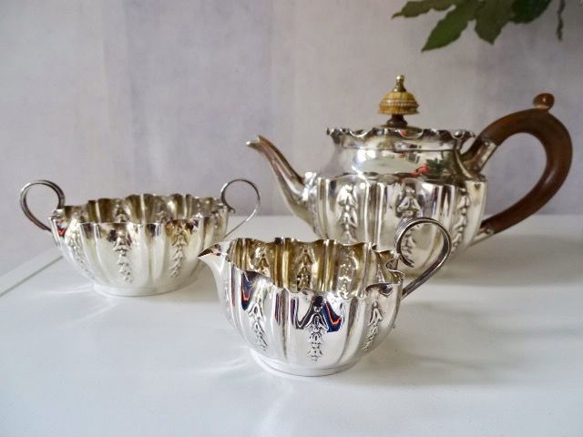 Antique silver tea set - Sheffield - Fenton Brothers - 1st silver content - England - 1892-1896