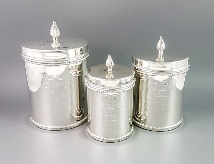 Sheffield - Box, Container, Kitchenware, Tea caddy, Silver plated 3pc nesting canister set for coffee, tea and sugar (3) - Mid-Century Modern - Silverplate