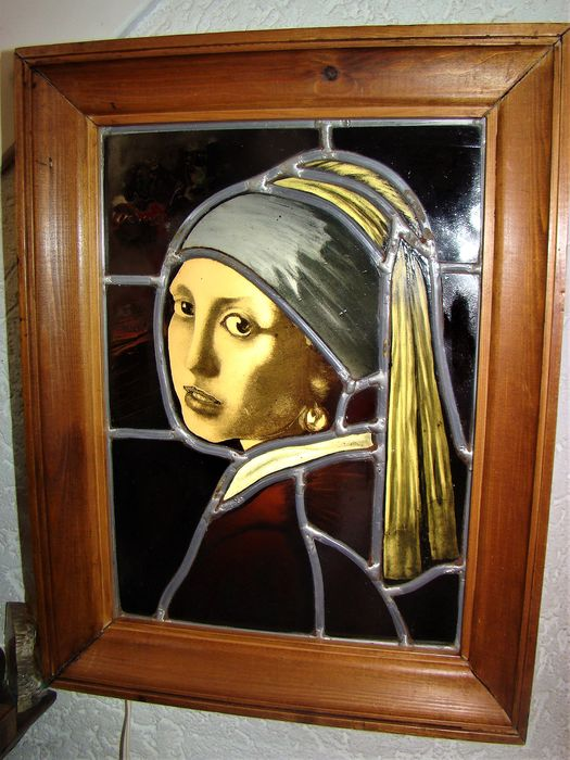 Stained glass lamp Girl with the Pearl after Johannes Vermeer - Stained glass