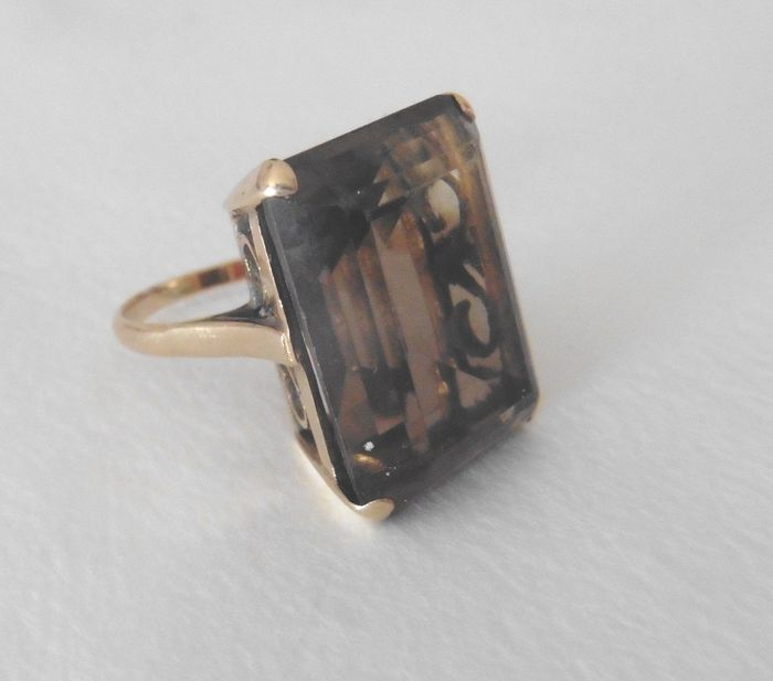 9 ct Gold - Ring Smoky quarz