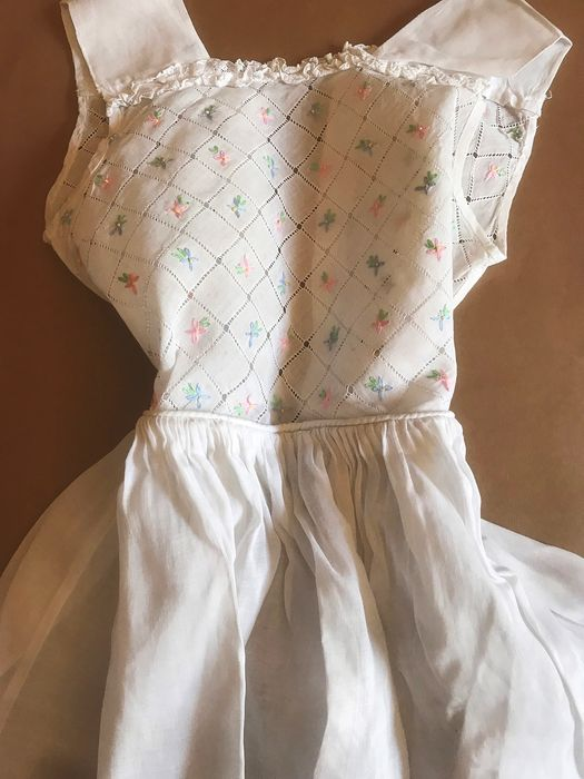 Old organza baby dress with beautiful hand embroidery work on chest and back. - Organza