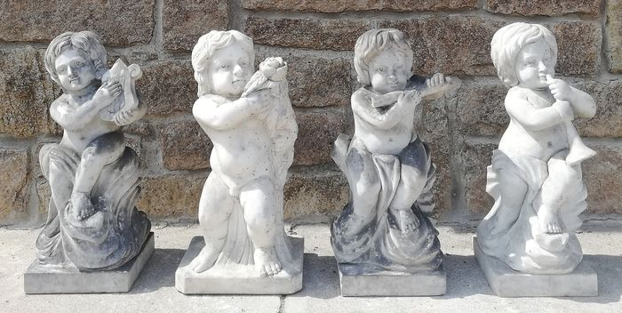 Collection of 4 Angels - H 59 cm - Carrara marble - Late 20th century