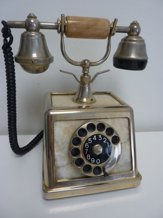 Gold plated 18K - Onix Telephone Made in Italy - Téléphone - Onyx
