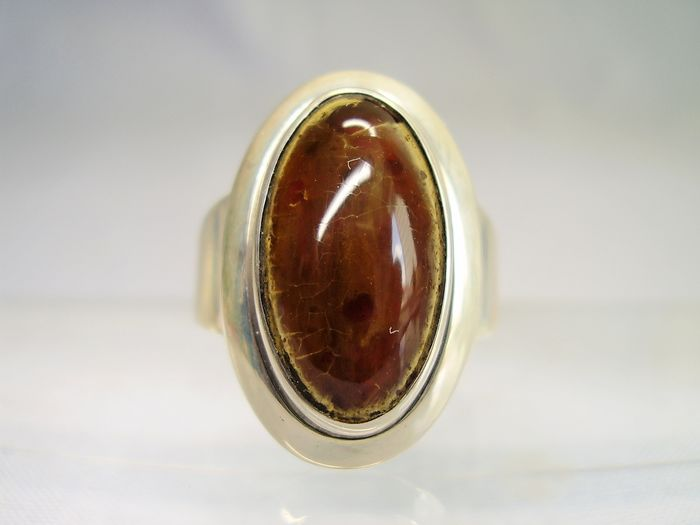 Nils Eric From, Denmark - 925 amber, silver ring - 4.00 ct amber