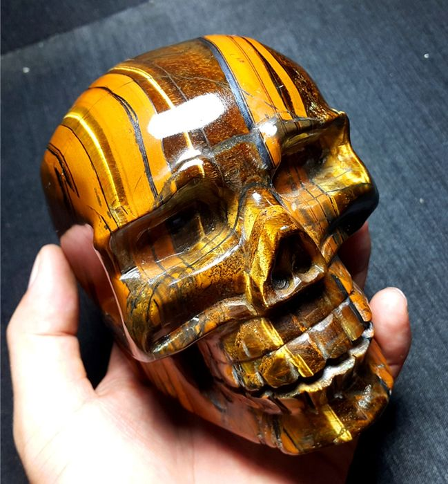 Natural Yellow Tiger's Eye skull  carved - 112×103×83 mm - 1523.6 g - (1)