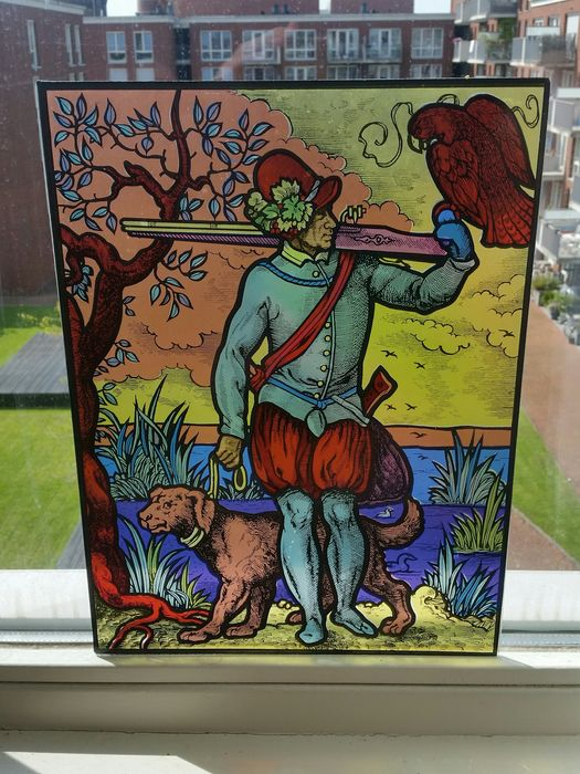 Glass Painting / Attachment Window - Hunter with Dog - Glass