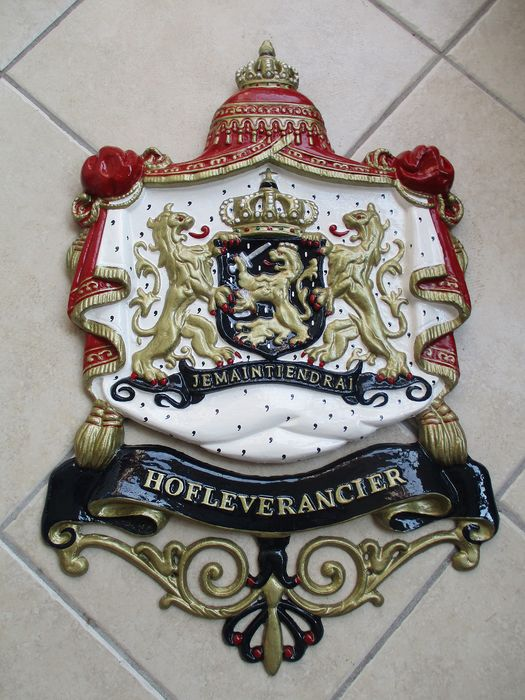 Dutch coat of arms with ornament & hanging element - cast iron