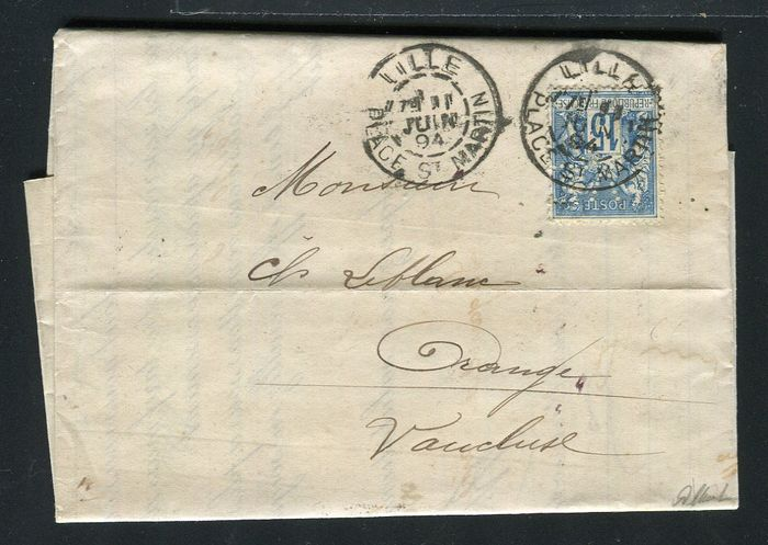 France 1894 - Rare letter from Lille bound for Orange with a N°101 with perforation V.D.  Verley, Decroix & Cie