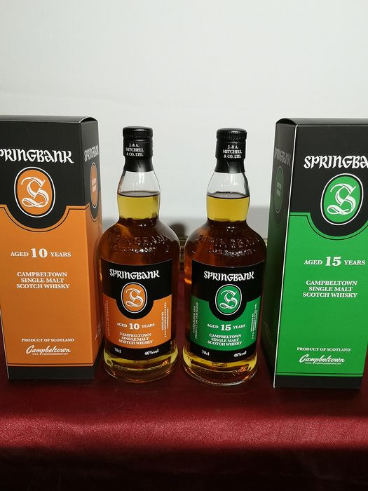 Springbank 10 years old & 15 years old - Original bottling - 70cl - 2 bottles