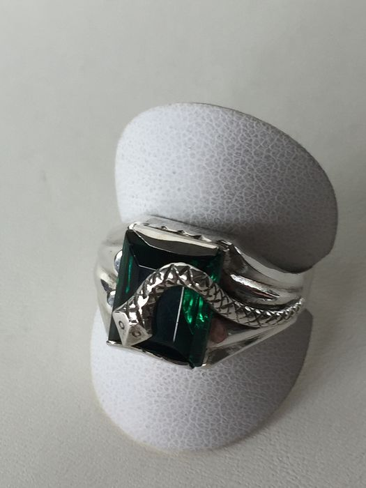 835 Silver - Silver Tourmaline Ring with Snake