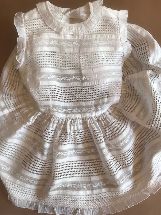 Old cotton batiste baby dress with beautiful embroidery work. - Cambric. Swiss embroidery.