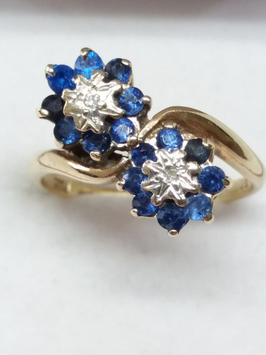 9k/9ct - Natural Blue Sapphire and Diamond Floral Crossover Ring