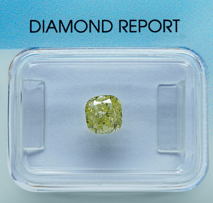 1 pcs Diamond - 1.14 ct - Cushion Brilliant - light yellow - I2 - No Reserve