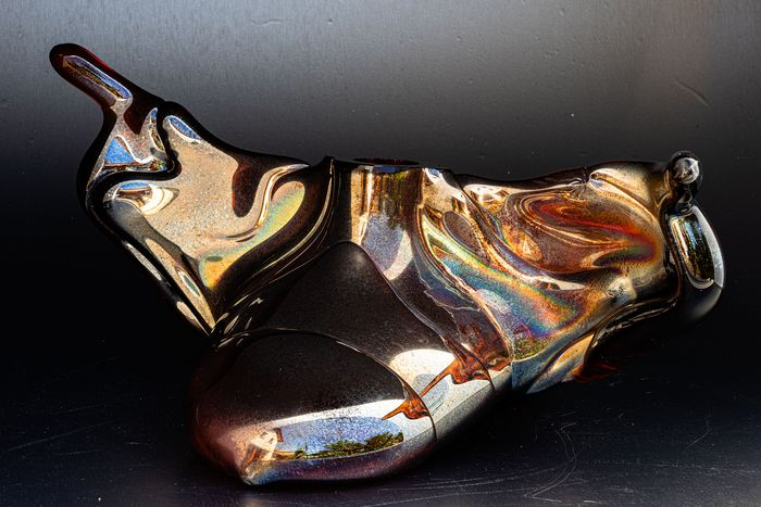 """Winged Glass Object """"Hermes"""" - Signed - Glass"""