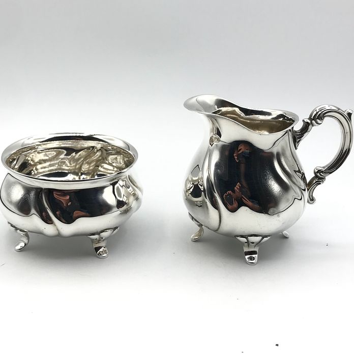 Large antique handmade silver Cream set. - .835 silver - Lutz & Weiss - Pforzheim  - Germany - First half 20th century