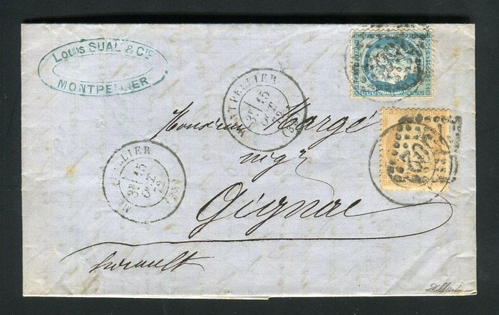 Frankrijk 1872 - Rare letter from Montpellier bound for Gignac - Cancelled dated postmark and GC postmark