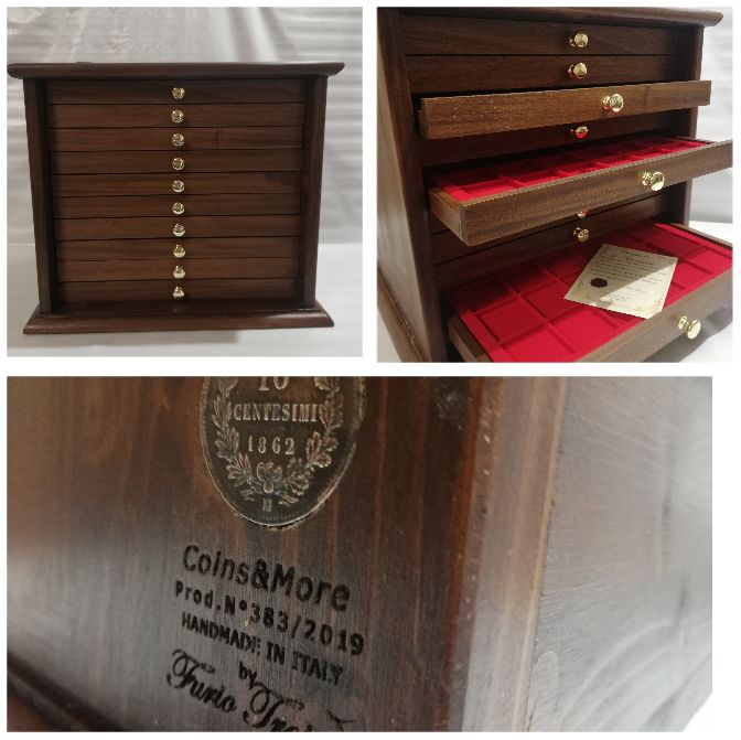 Coin tray 10 drawers color OLD WALNUT - Made in Italy realizzato a mano