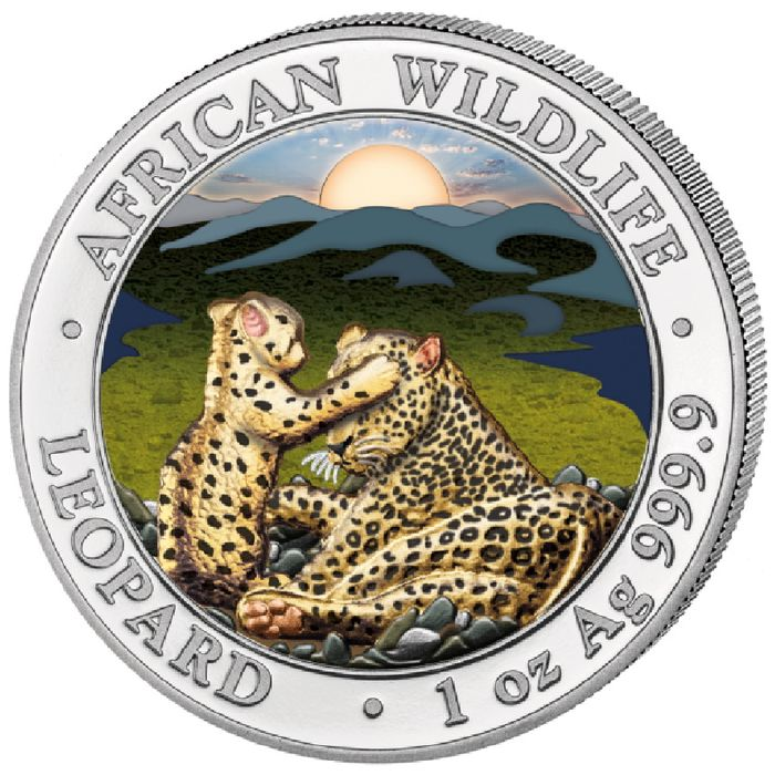 Somalia - 100 Shilling 2019 Somalia African Wildlife Leopard Colour Edition - mintage of only 5000 pieces - silver