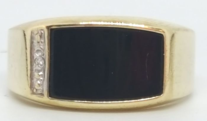 9 kt Yellow gold - Ring - 1.00 ct onyx - Diamonds