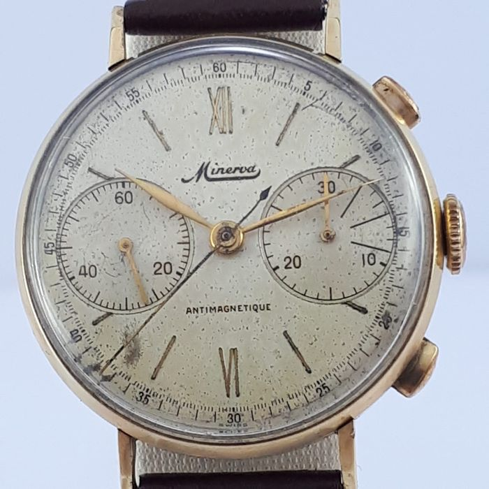 Minerva - Vintage Chronograph Gold - Men - 1950-1959