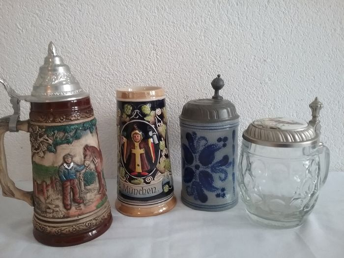 Original Haku Biersiedel, etc.  Others are marked but unrecognized. - BEER MUGS, COLLECTIBLES, ca. for 1/2 LITER content (4) - Glass, Ceramic, Pewter, Pewter/Tin