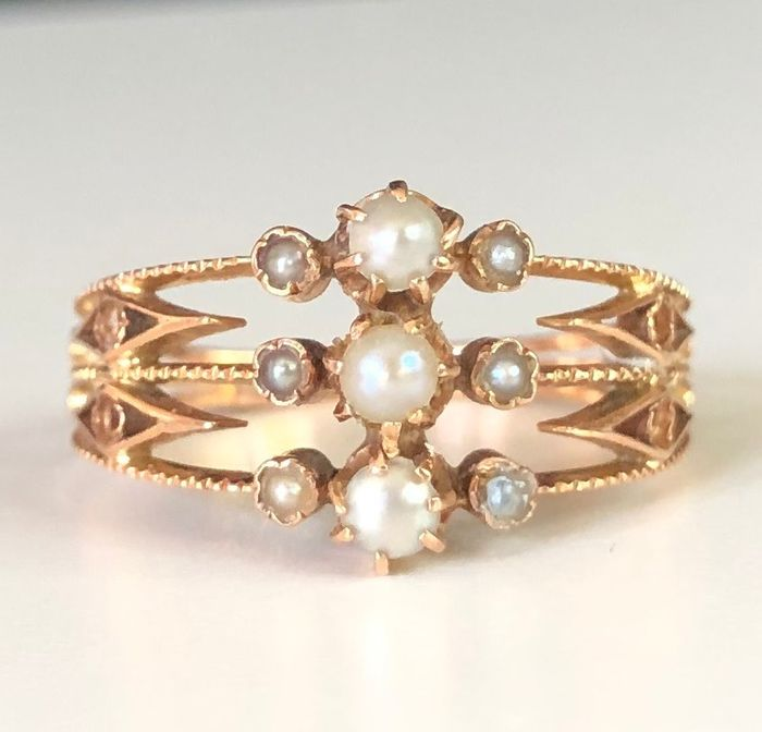 18 kt. Natural pearls, Pink gold - Ring