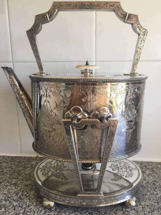 Kettle Warmer and Stand - Silver plated - 19th century