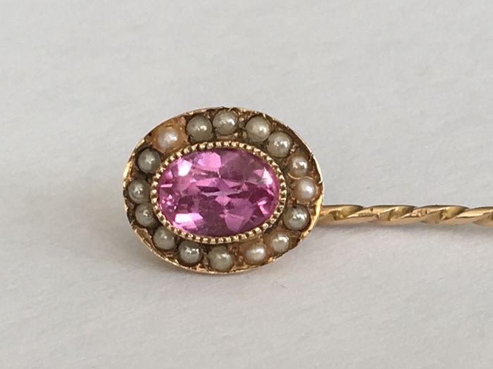 14 kt. Gold - Tie pin - 0.50 ct Sapphire - Pearls