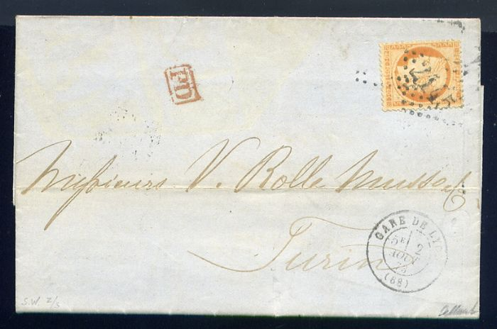 France 1873 - Rare letter from the Gare de Lyon to Turin (Italy) with a No. 38