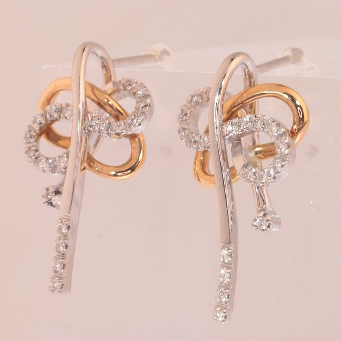 18 kt. Pink gold, White gold - Earrings  - Diamonds TDW 0.40 ct