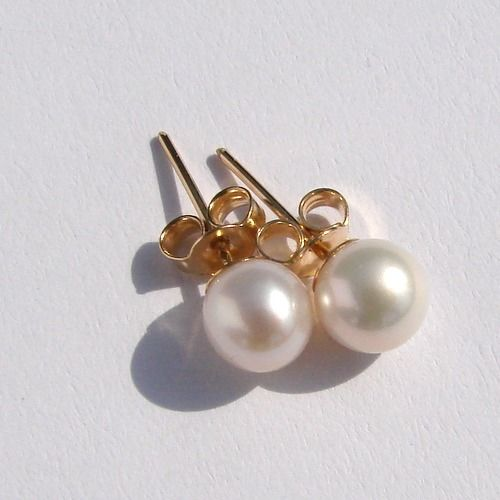 14 kt. Yellow gold - Earrings Saltwater Akoya pearls 6.3mm  AAA,size 17mm