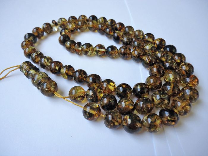 islamic prayer beads - 100% natural green Baltic amber