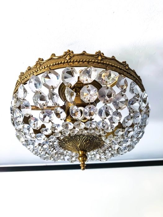 Hot air balloon ceiling light - Baroque - Crystal, Brass, Porcelain