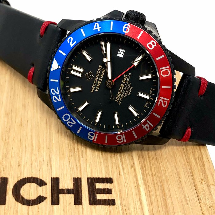 Meccaniche Veneziane - Automatic Watch Nereide GMT 2.0 with Extra Rubber Strap - Diaspro PVD - Homme - BRAND NEW