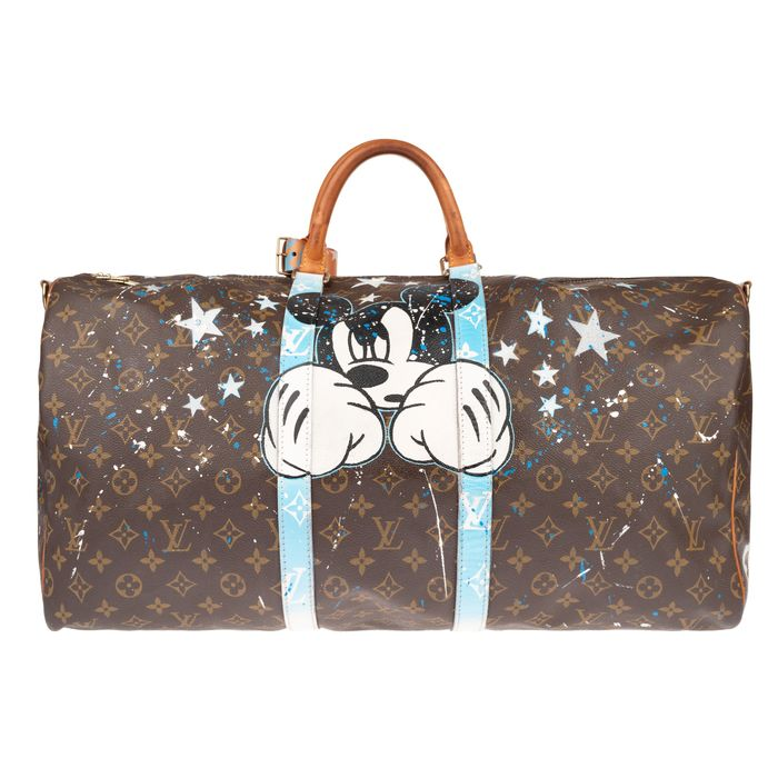 Louis Vuitton - Customized Keepall 55 'Mickey Fight Club' by PatBo Weekend bag