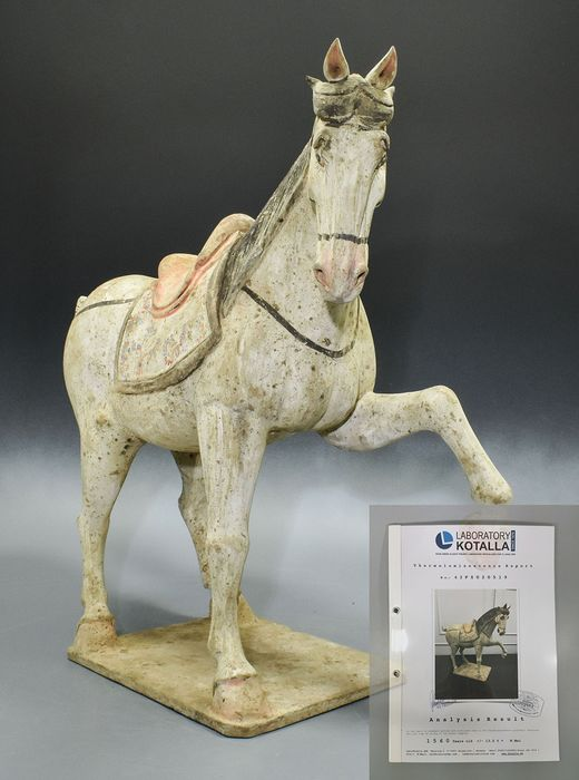 Antigua China Terracota Northern Wei Horse & Rider- TL PROBADO - 490mm