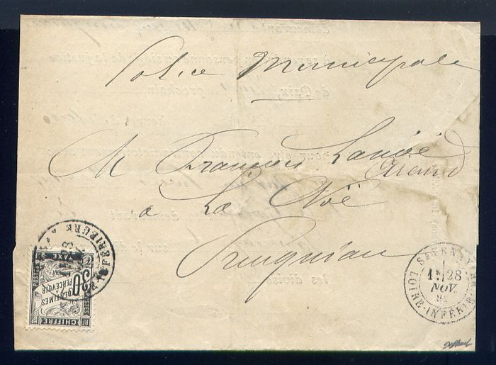 France 1882 - Rare taxed letter from of Savenay Municipal Police with a N°18