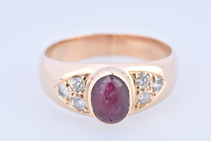 18 kt. Yellow gold - Ring Ruby - Diamond