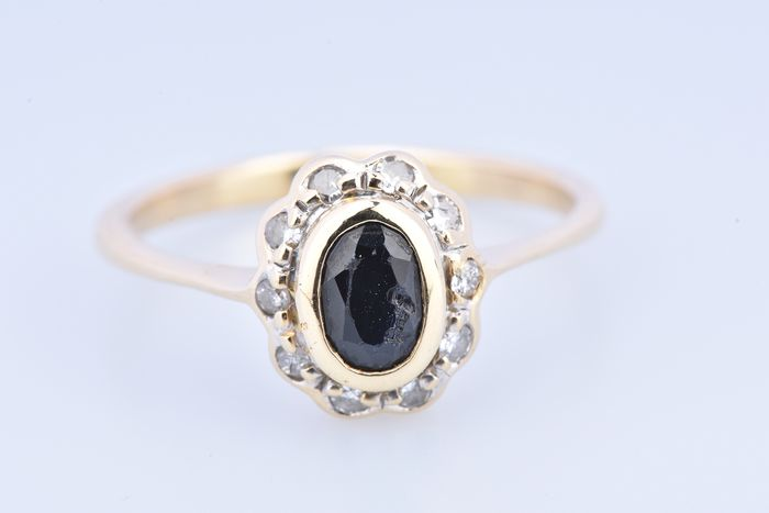 18 kt. Yellow gold - Ring Sapphire