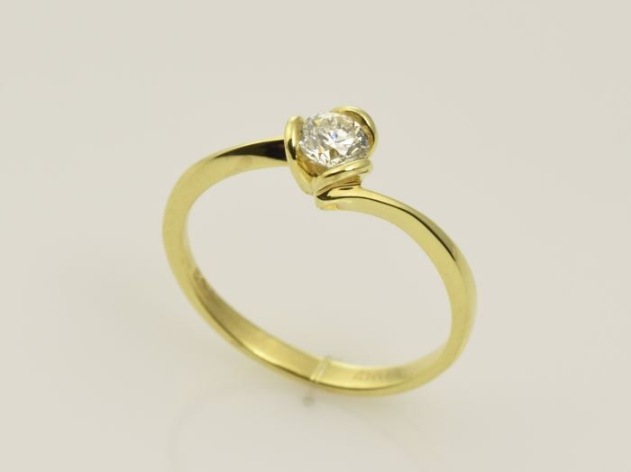 14 kt. Yellow gold - Ring - 0.27 ct Diamond