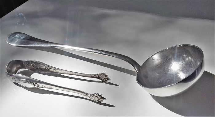 Antique Soup ladle with sugartongs - Silverplate - France - 1897